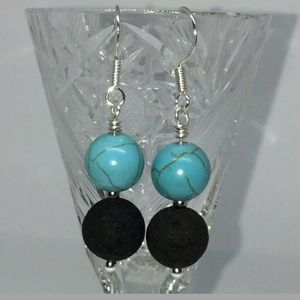 Sterling Silver Turquoise Lava Stone Earrings